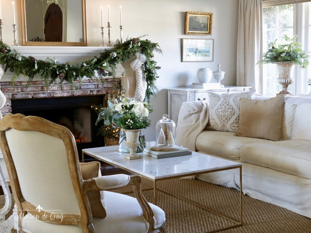 gorgeous neutral French country living room Christmas decorating ideas