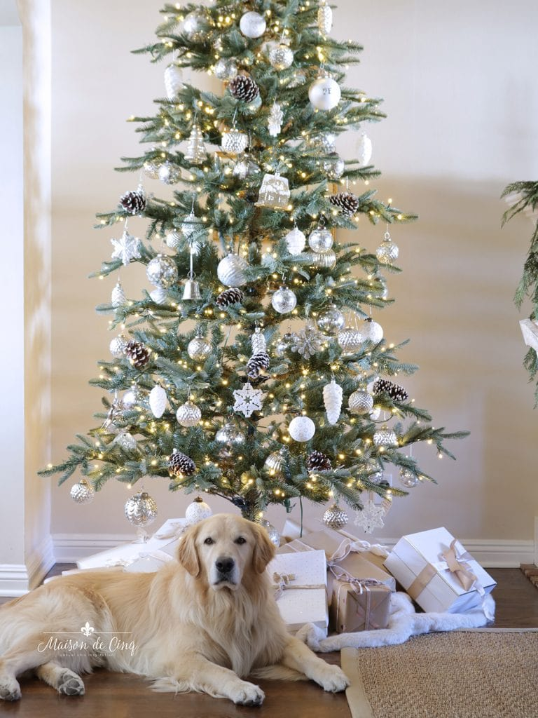 gorgeous neutral Christmas tree and golden retriever