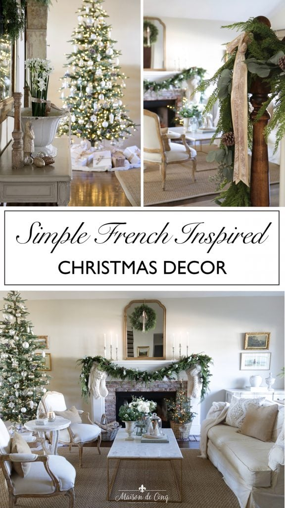 Simple neutral French inspired Christmas decorating gorgeous living room graphic