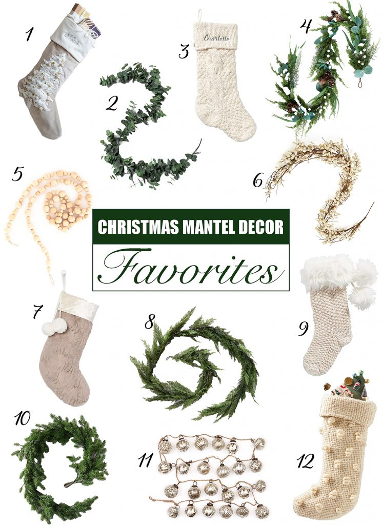 Christmas mantel decor favorites graphic French farmhouse holiday decor