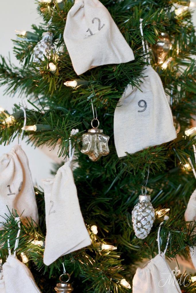 christmas tree advent calendar with muslin bags