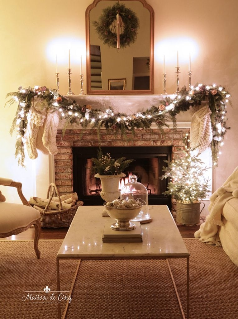 gorgeous French farmhouse living room cozy candlelight Christmas tour