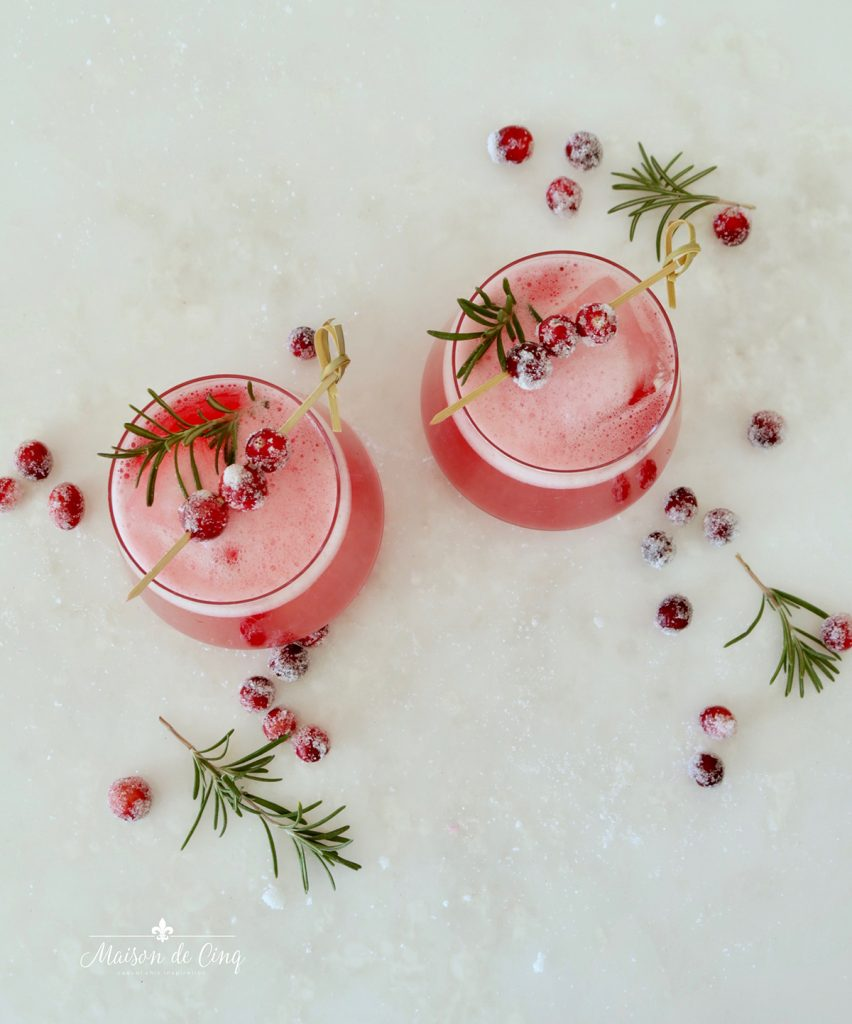 overhead shot of gorgeous cranberry holiday cocktail