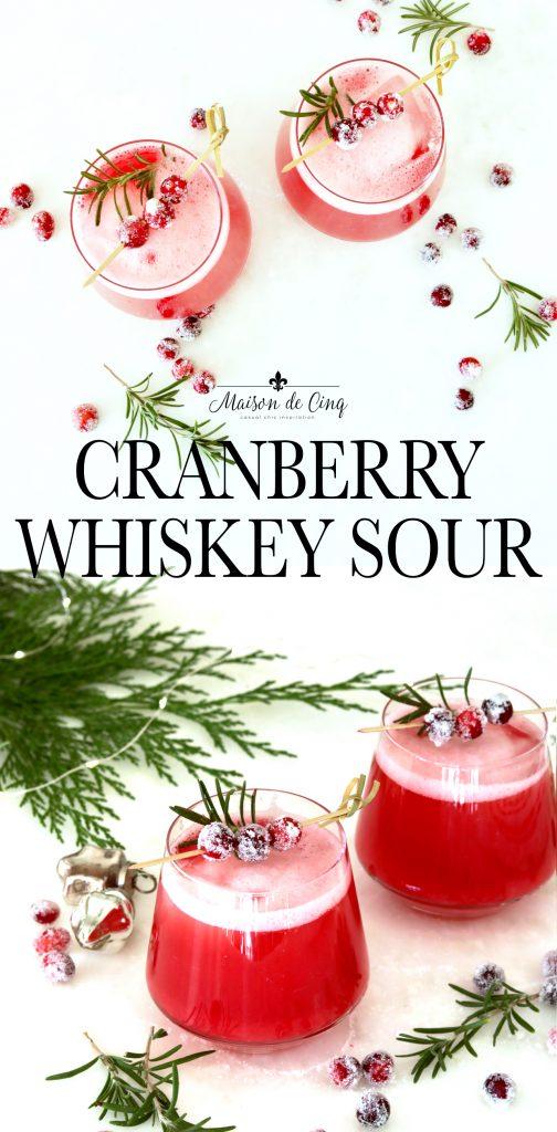 cranberry whiskey sour on Maison de Cinq graphic