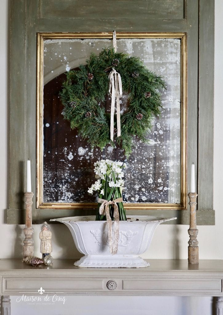 wreath on mirror French country Christmas decorating ideas