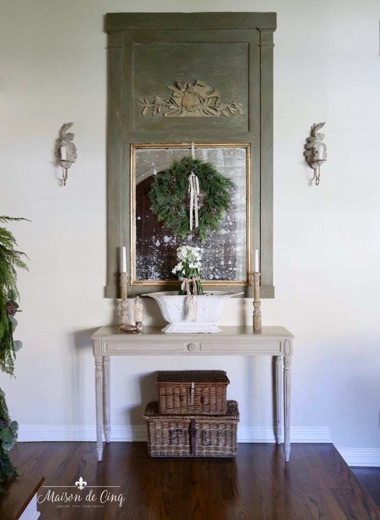 simple holiday decorating ideas French country entry way with mirror console table and wreath