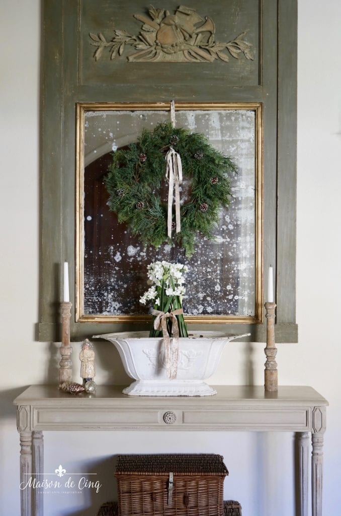 gorgeous French country Christmas entry way Trumeau mirror with wreath