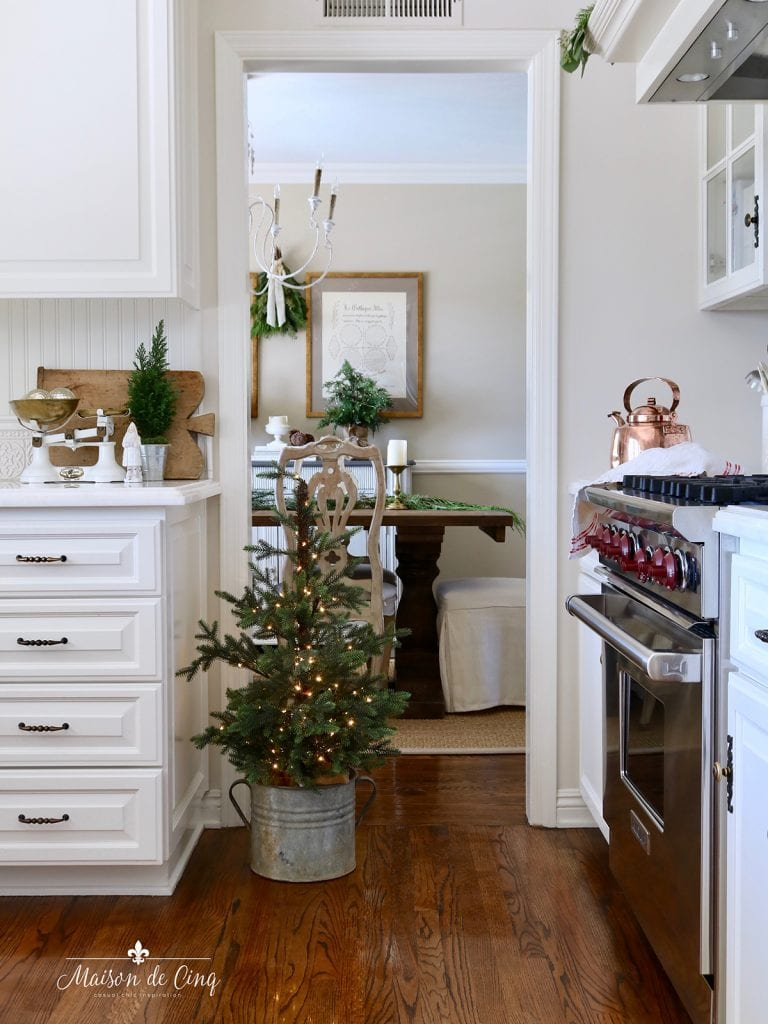 Simple Christmas decorating small tree with lights gorgeous French farmhouse white kitchen