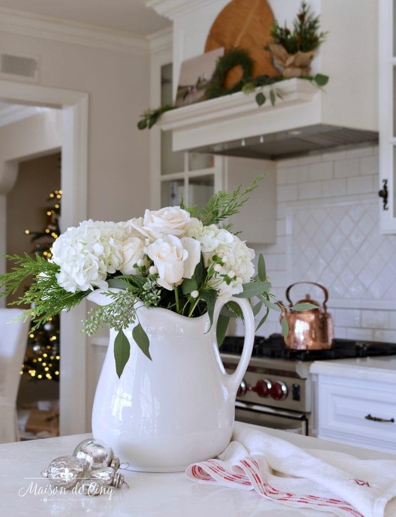 gorgeous white roses in French farmhouse kitchen simple Christmas decorating ideas