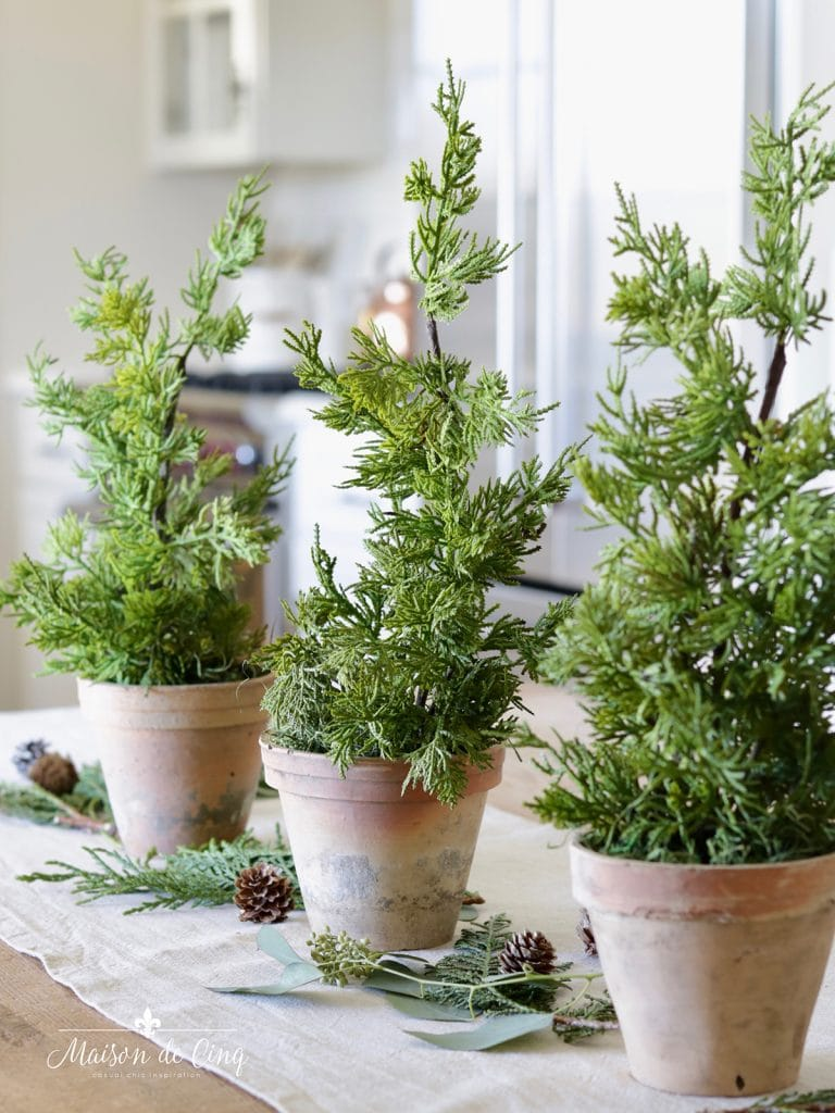 simple Christmas decorating small green pine trees in terracotta pots on table European style