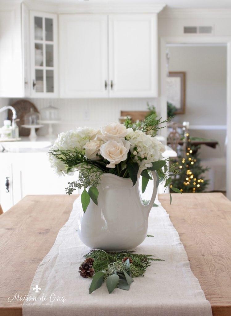 white roses in ironstone pitcher French farmhouse kitchen Christmas decor