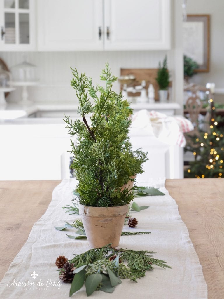 small cedar pine tree in terracotta in French kitchen simple holiday decor