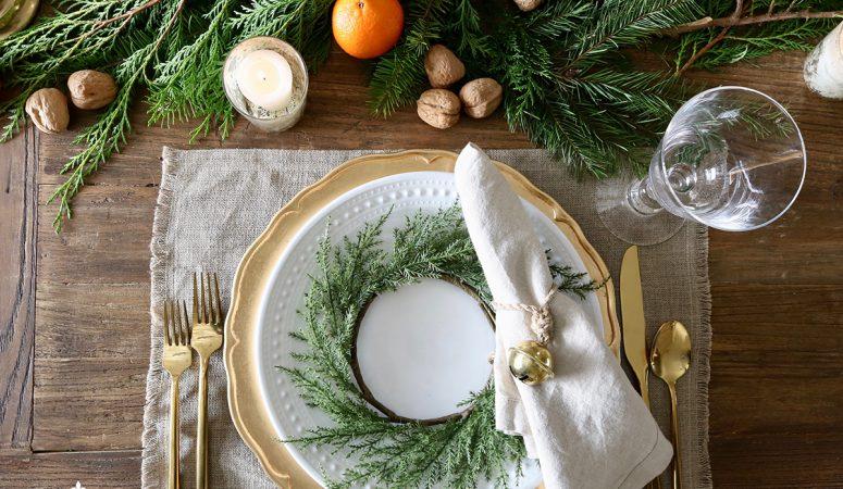 Cozy Holiday Tablescape with Oranges, Cedar & Walnuts