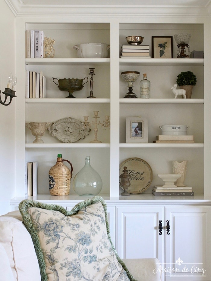 top ten posts of 2020 white builtin cabinets shelf styling French farmhouse