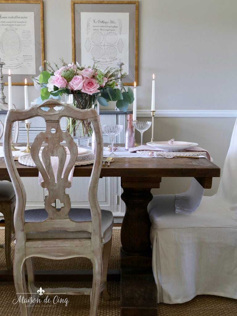 gorgeous French country dining room with pink roses Valentine's day romantic table setting