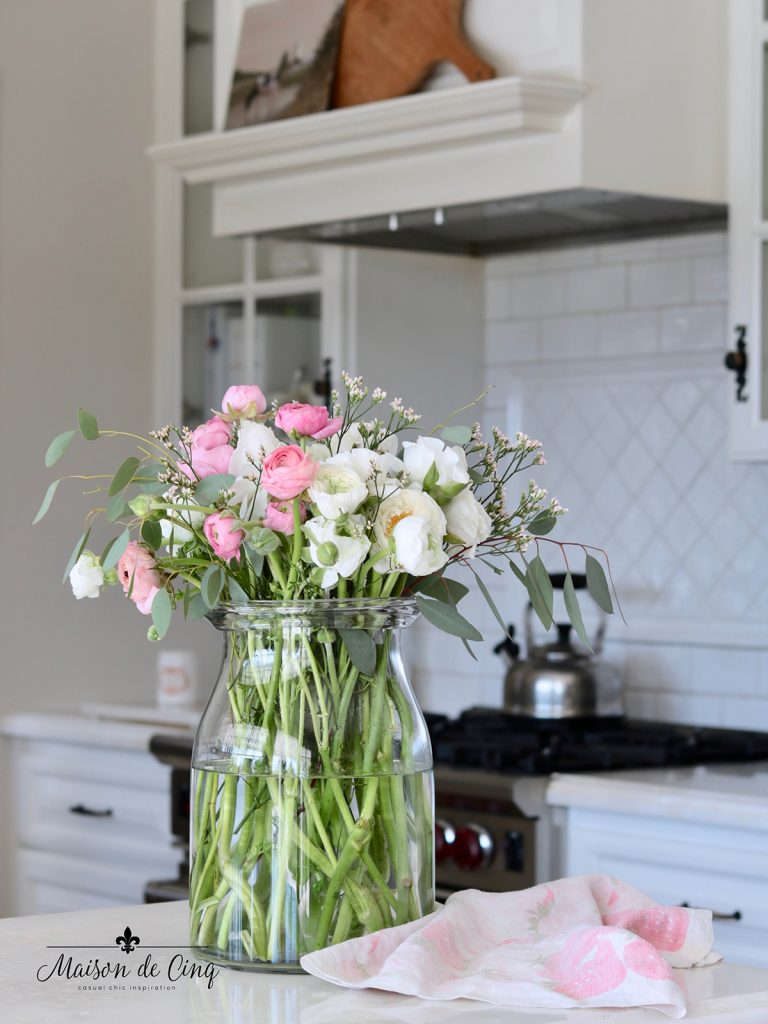 pink and white ranunculus flowers spring decor
