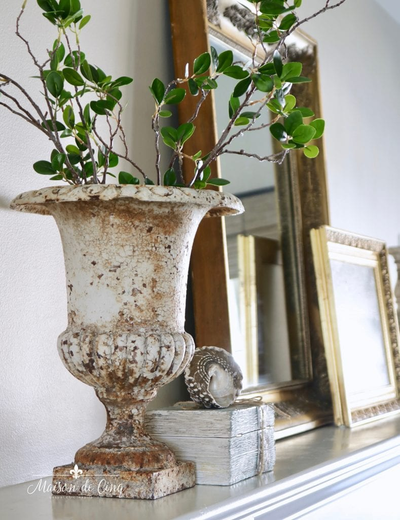 simple spring decorating ideas branches in gorgeous French vintage urn