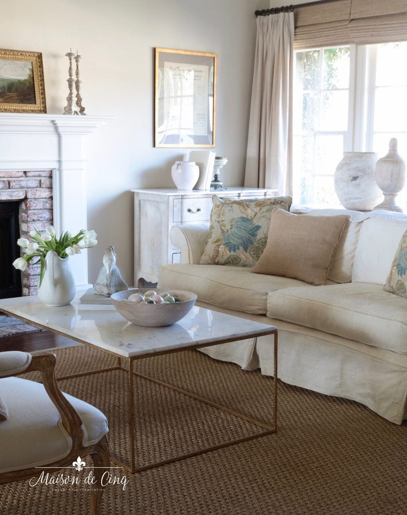 gorgeous neutral French country living room with spring decor