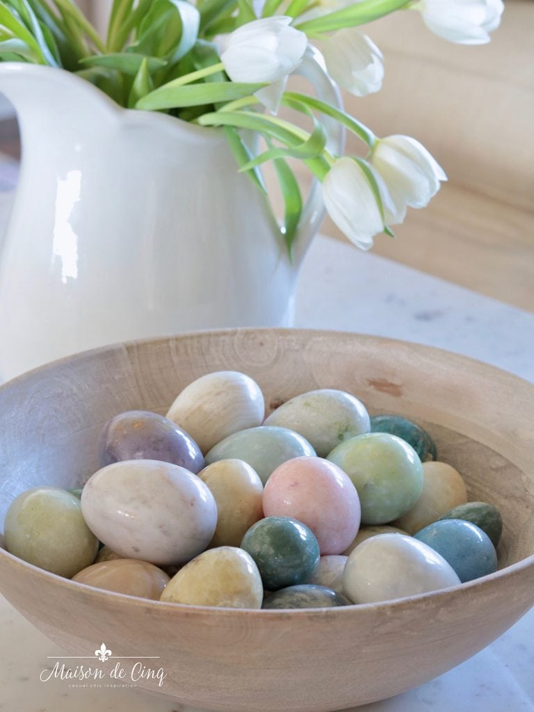 bowl with vintage marble eggs Easter simple spring decorating ideas