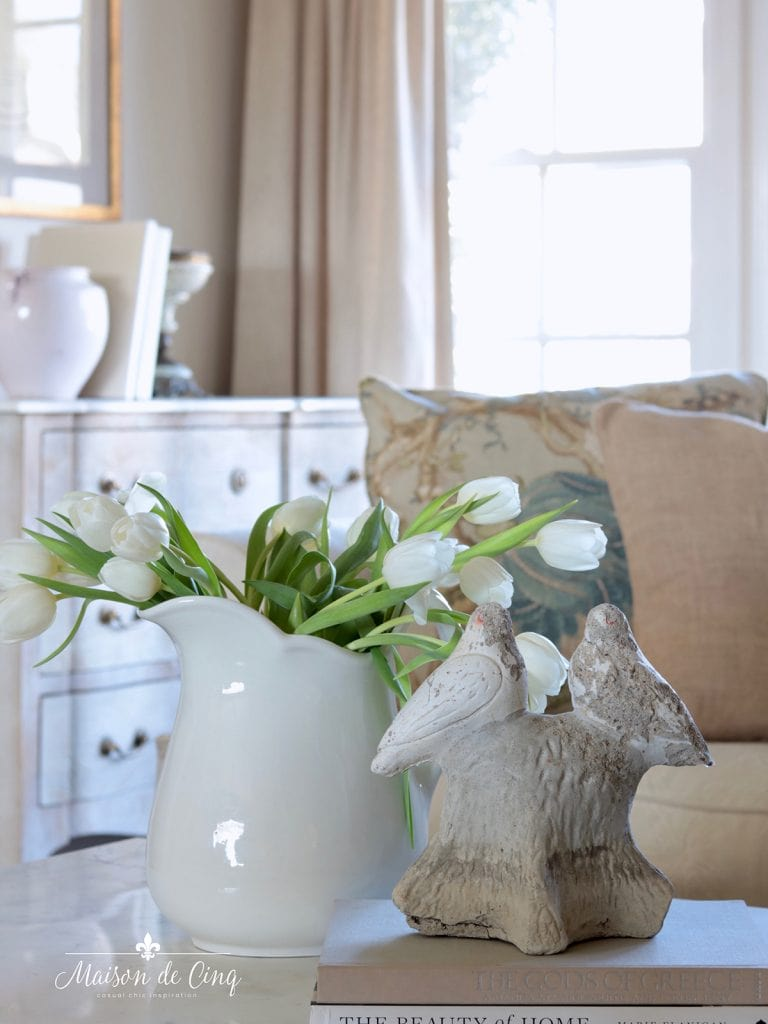 tulips and vintage garden elements simple spring decorating ideas