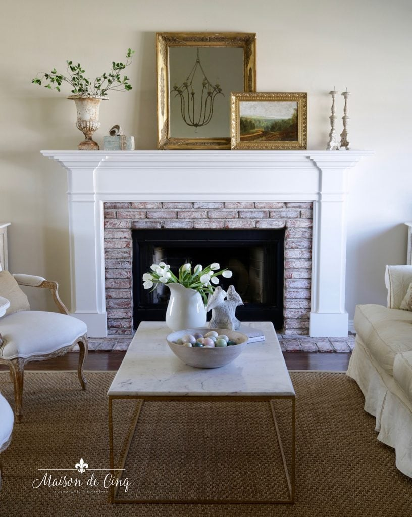 simple spring decorating French farmhouse living room spring mantel decor
