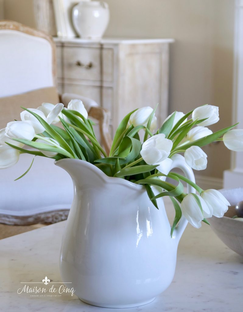 tulips in white ironstone pitcher gorgeous simple spring decorating ideas vignette