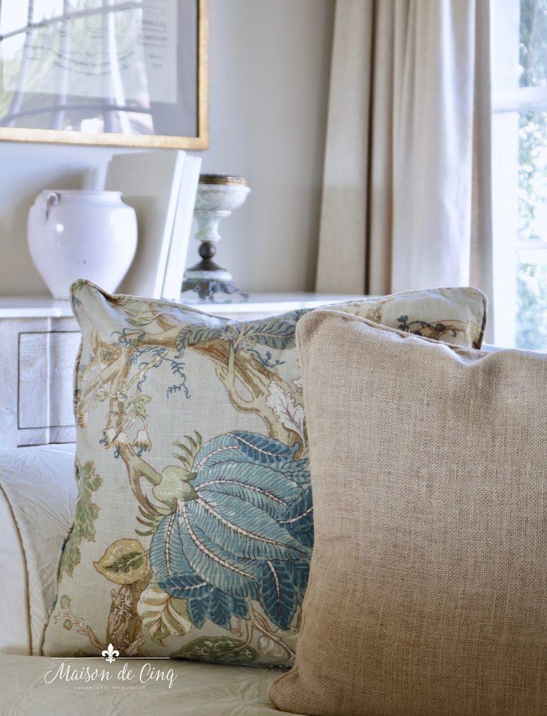 blue linen floral spring pillows