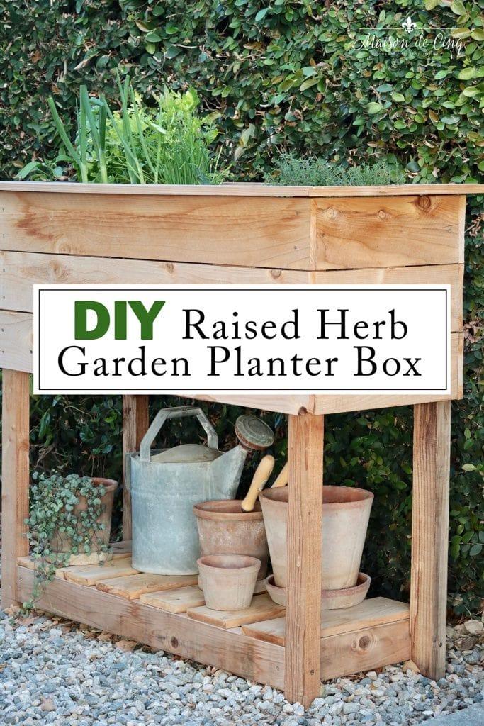 DIY Raised Herb garden planter box graphic