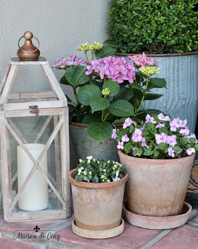 lantern and terracotta pots make pretty spring front porch decor