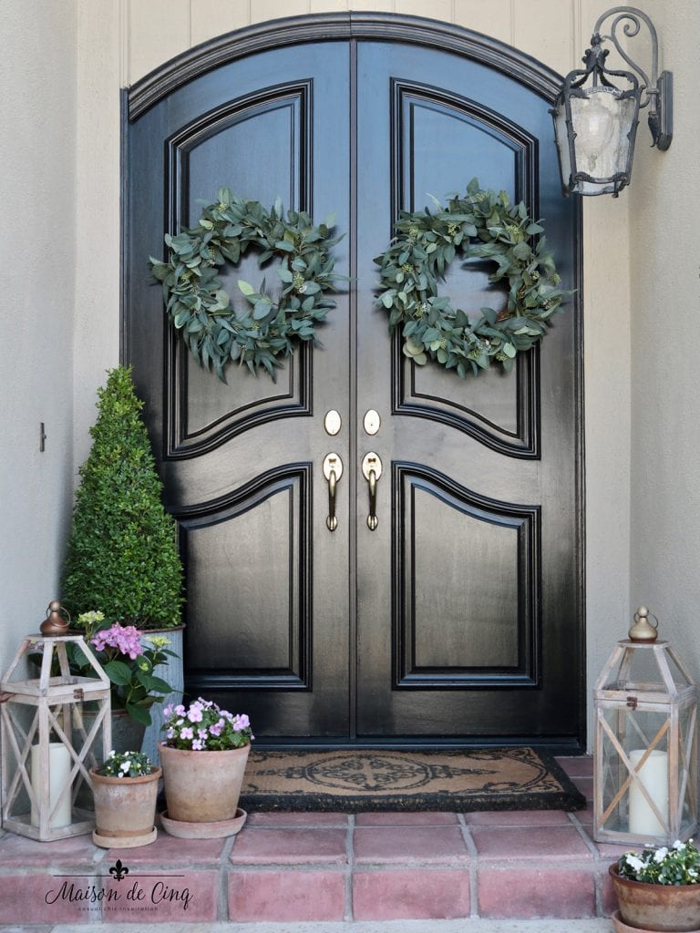 gorgeous French country front doors with wreaths and flowers for spring front porch