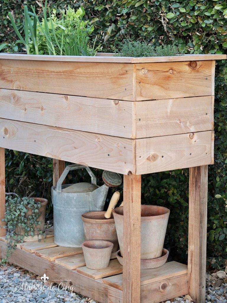 DIY Raised Herb Garden cedar Planter Box