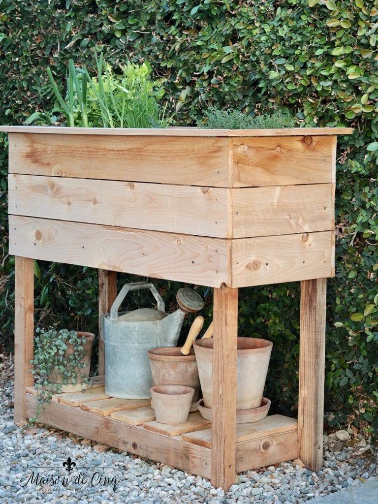 DIY Raised Herb Garden Planter Box great garden project