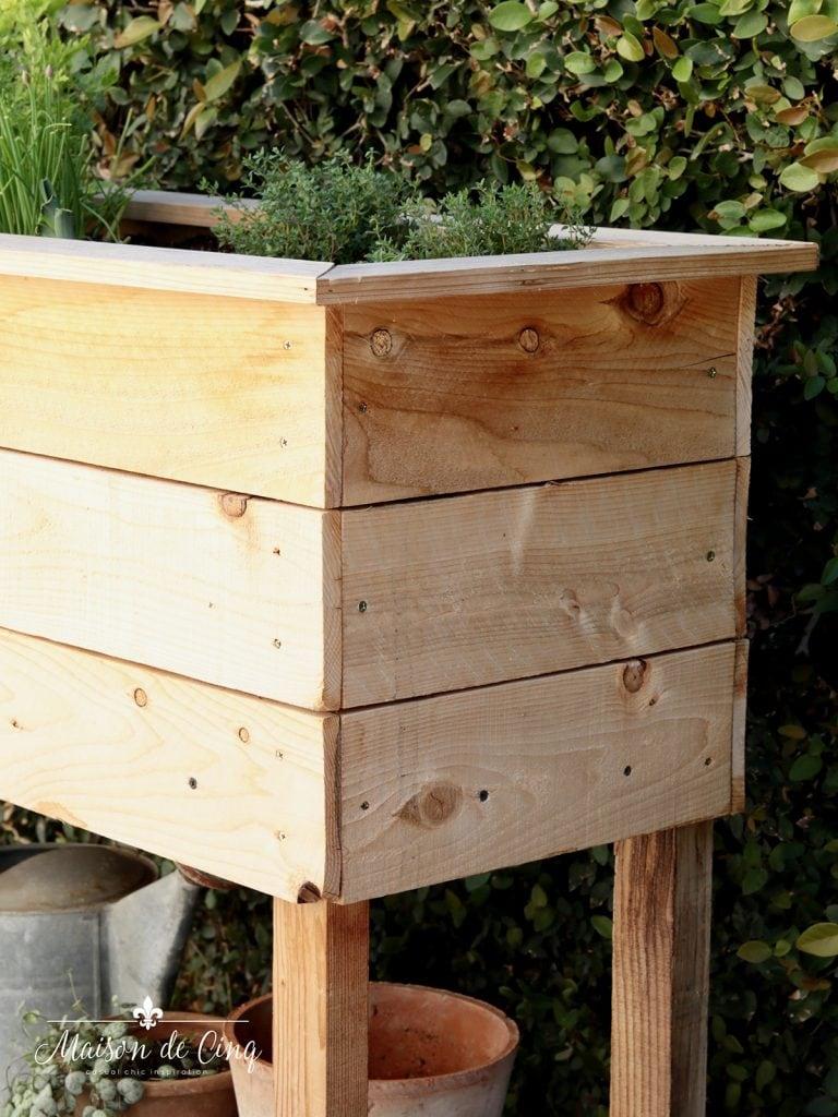 cedar planked DIY raised planter box herb garden