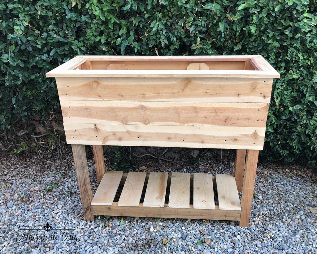 homemade cedar plank Raised garden Planter Box