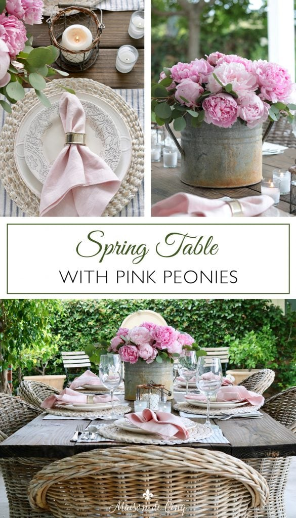 spring table decor idea tablescape with pink peonies graphic
