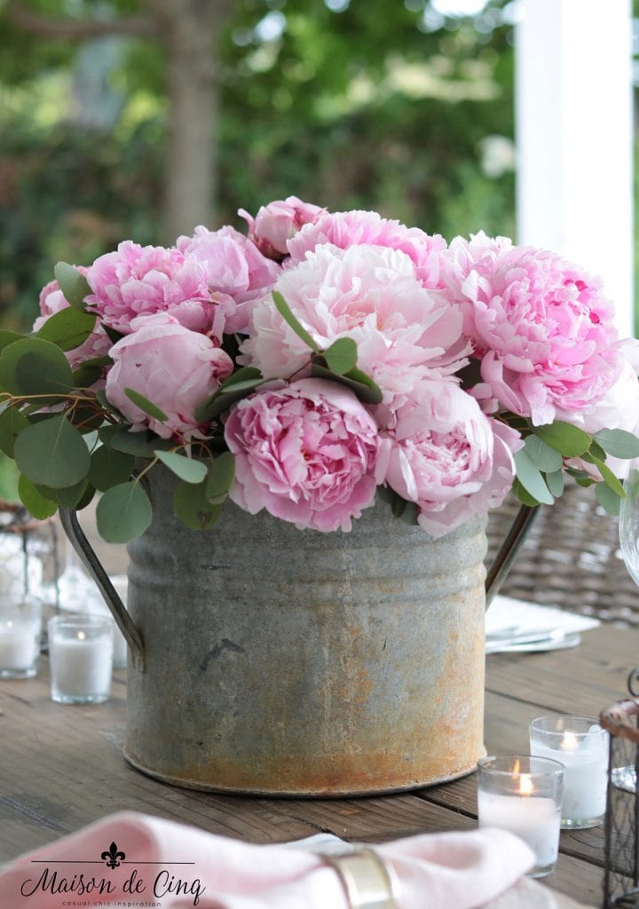 pink peonies in vintage French zinc bucket gorgeous spring centerpiece tablescape