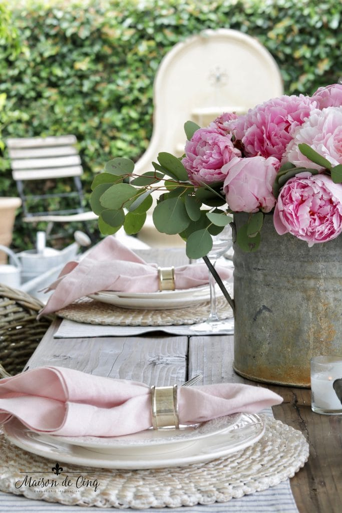 spring table decor ideas pink peonies blue and white table setting