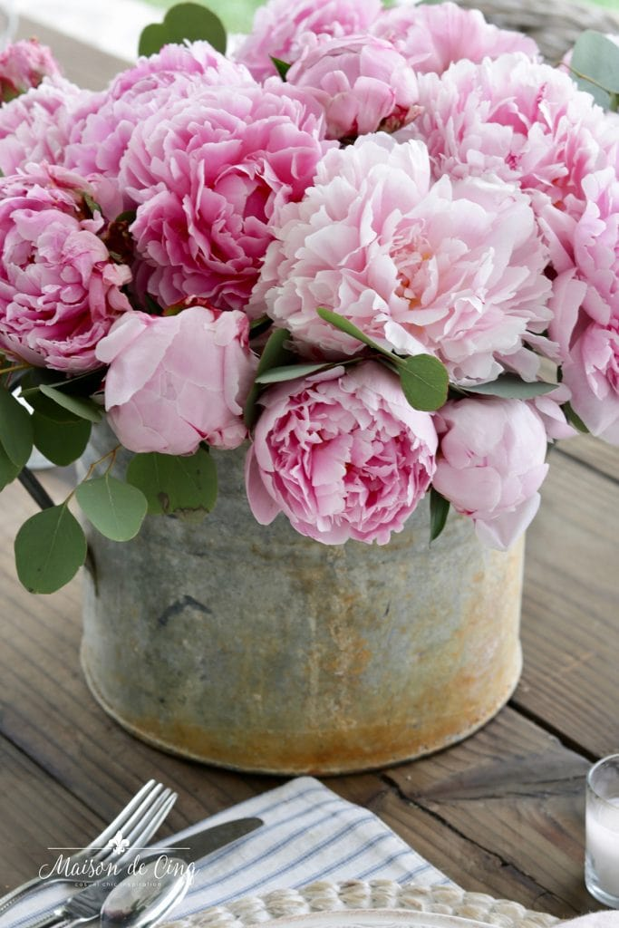 stunning pink peonies in vintage French zinc bucket spring table decor centerpiece
