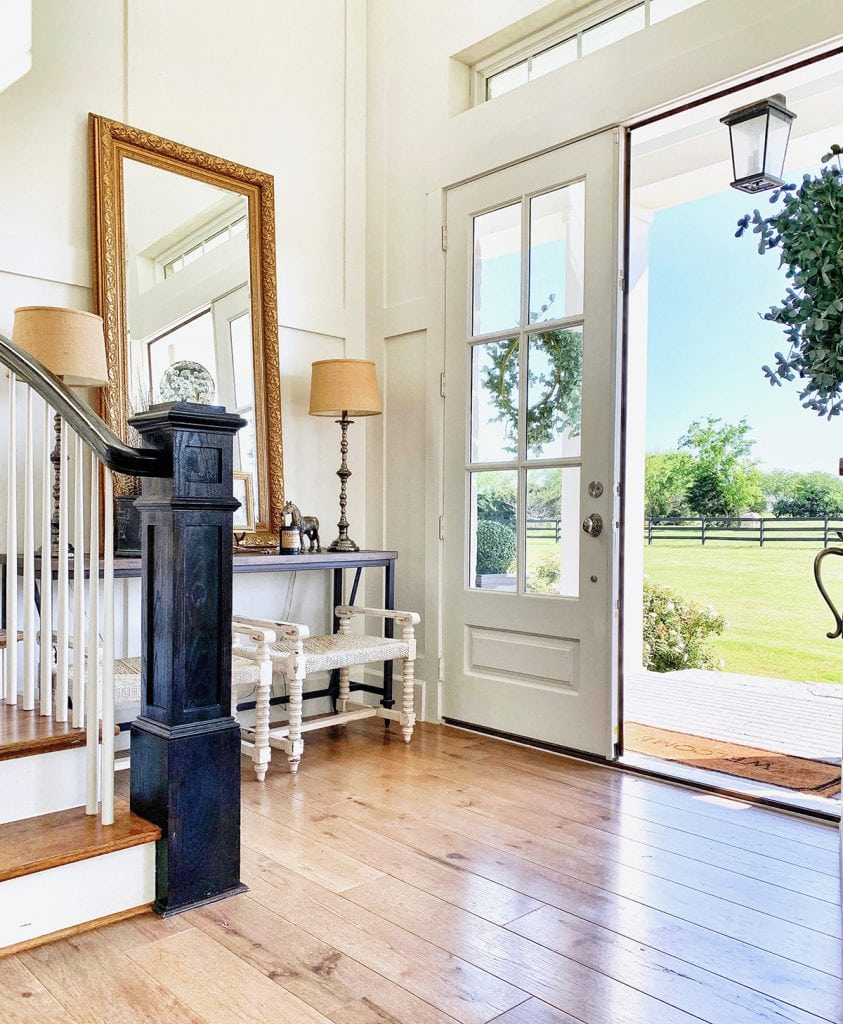 farmhouse entry way gold mirror french doors