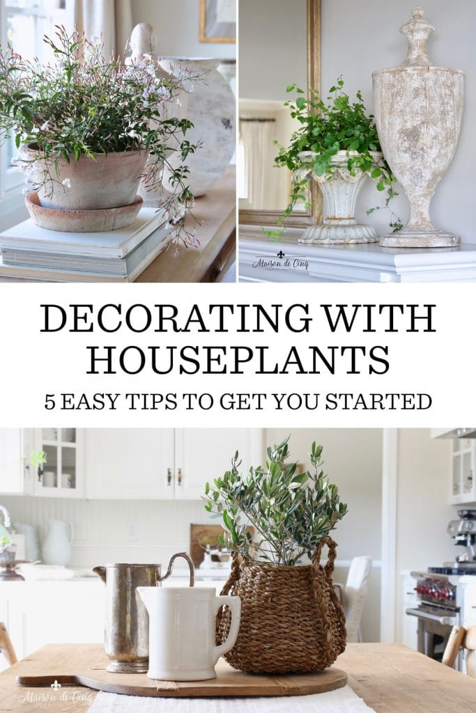 Decorating with Houseplants graphic Maison de Cinq