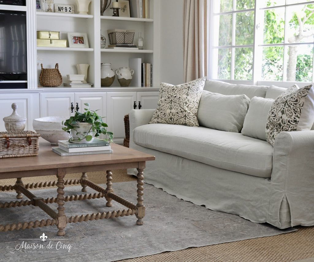 decorating with houseplants French farmhouse family room sofa and coffee table
