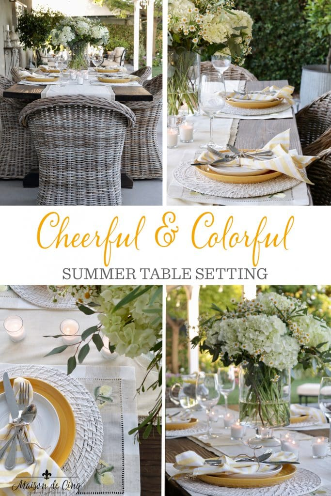 Cheerful & Colorful Summer table setting graphic Maison de Cinq