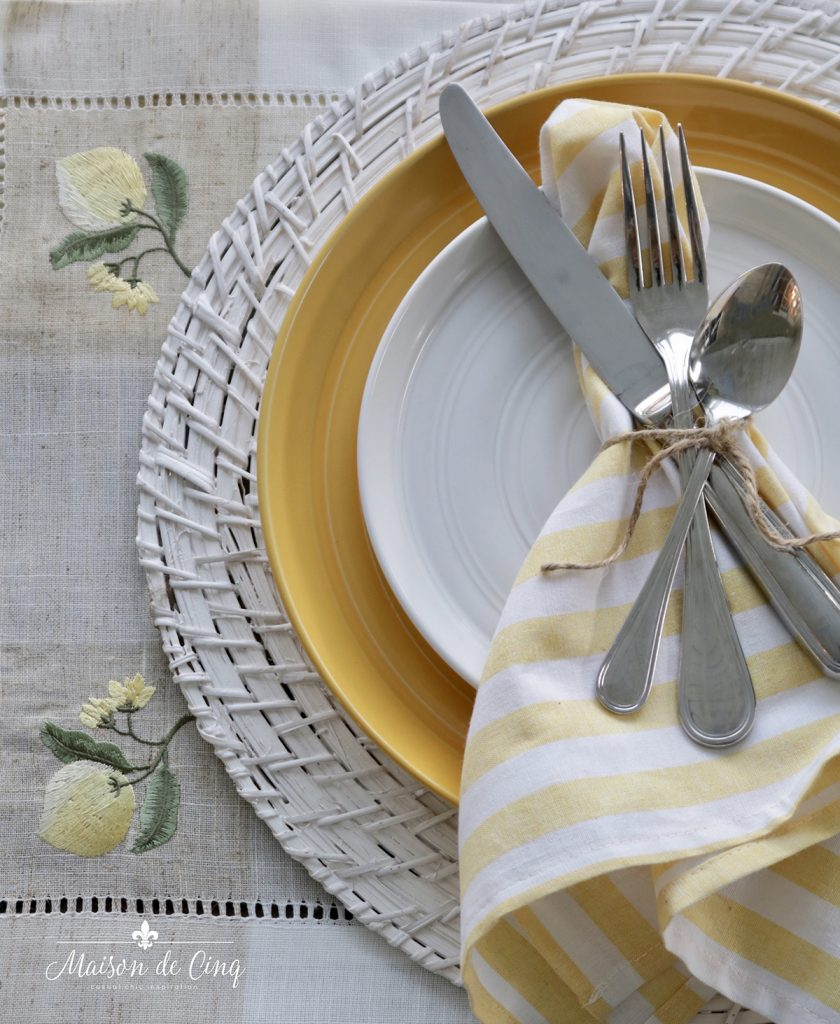 yellow and white cheerful summer table setting