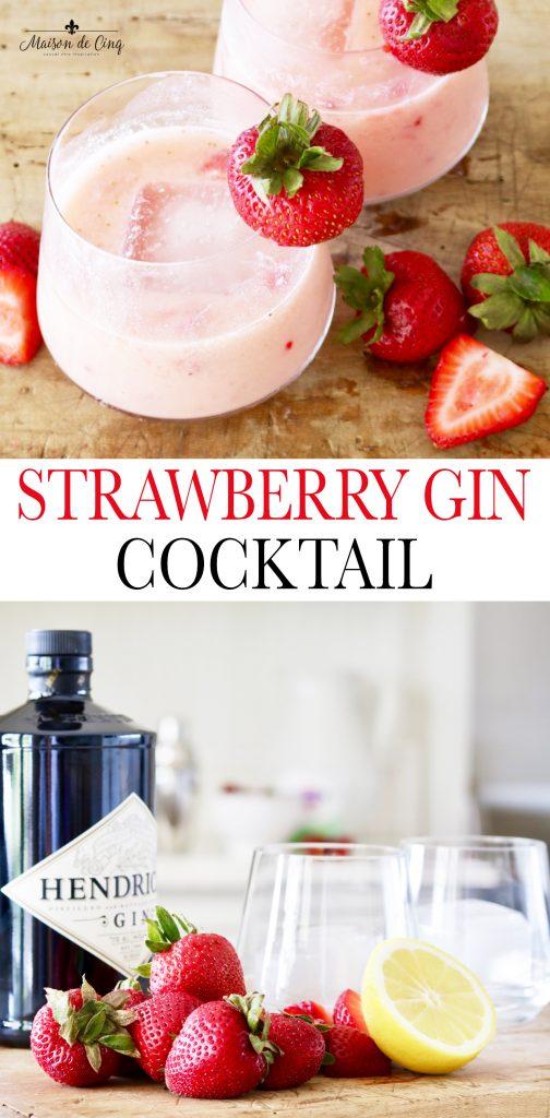 Strawberry Gin cocktail graphic Maison de Cinq