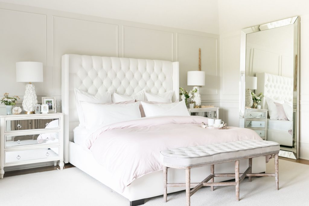 French country bedroom tufted headboard wall paneling