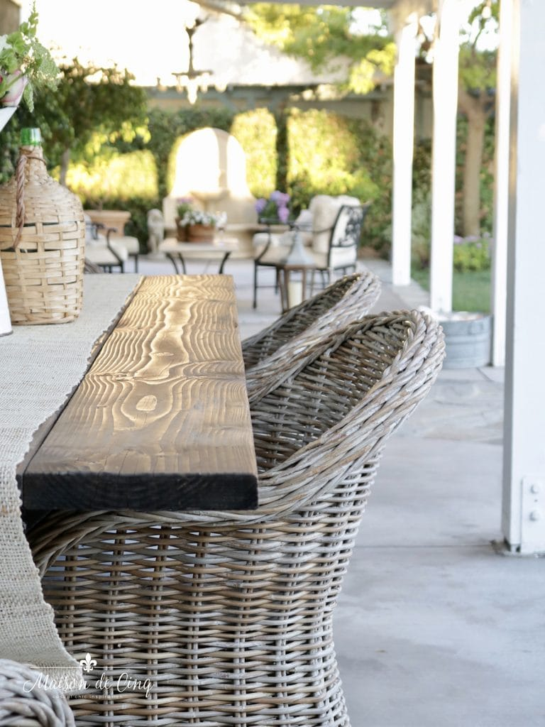 outdoor patio decor wicker chairs and table European style decor