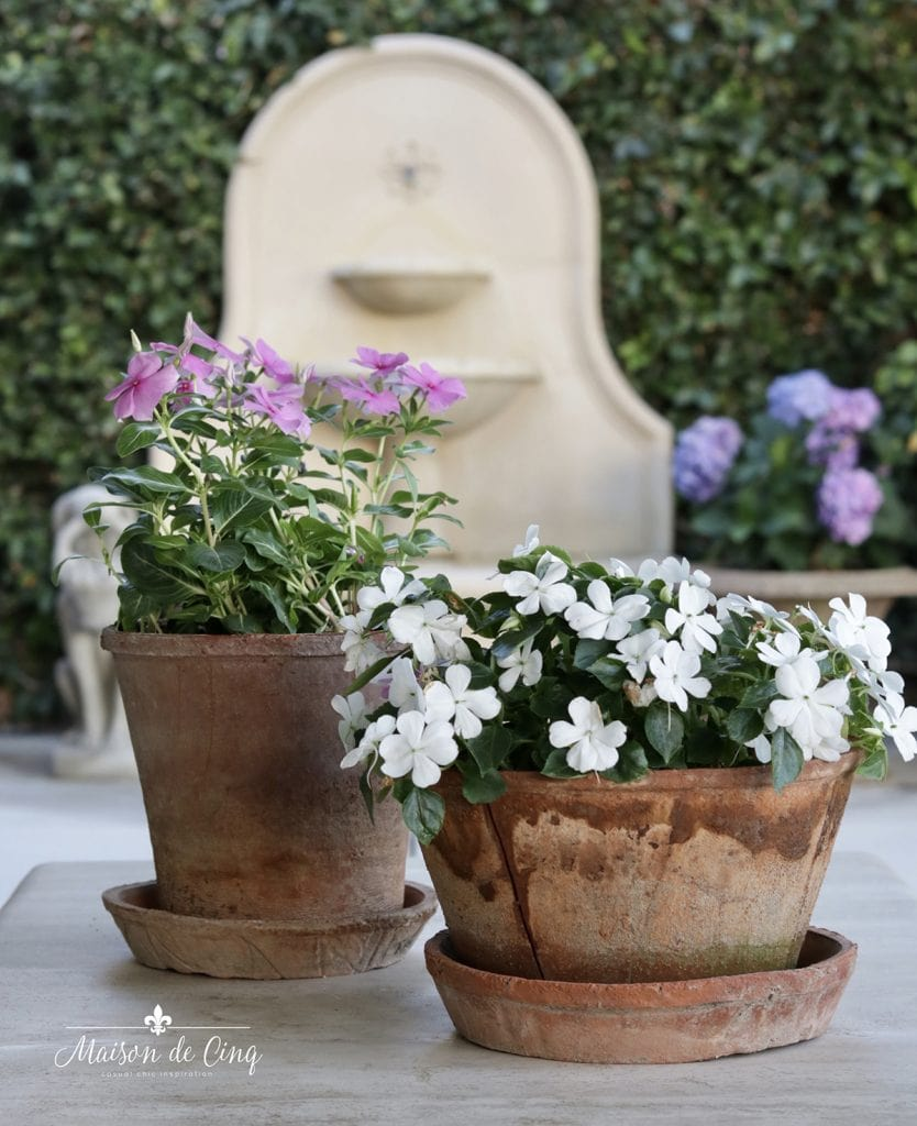 flowers in pots outdoor patio decor