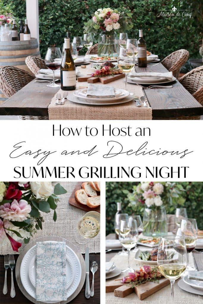 Easy & Delicious Summer Grilling Night graphic Maison de Cinq