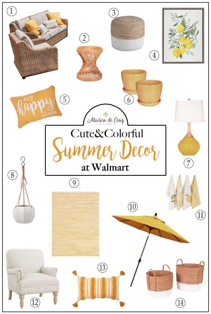 Cute & Colorful Summer Decor at Walmart graphic Maison de Cinq