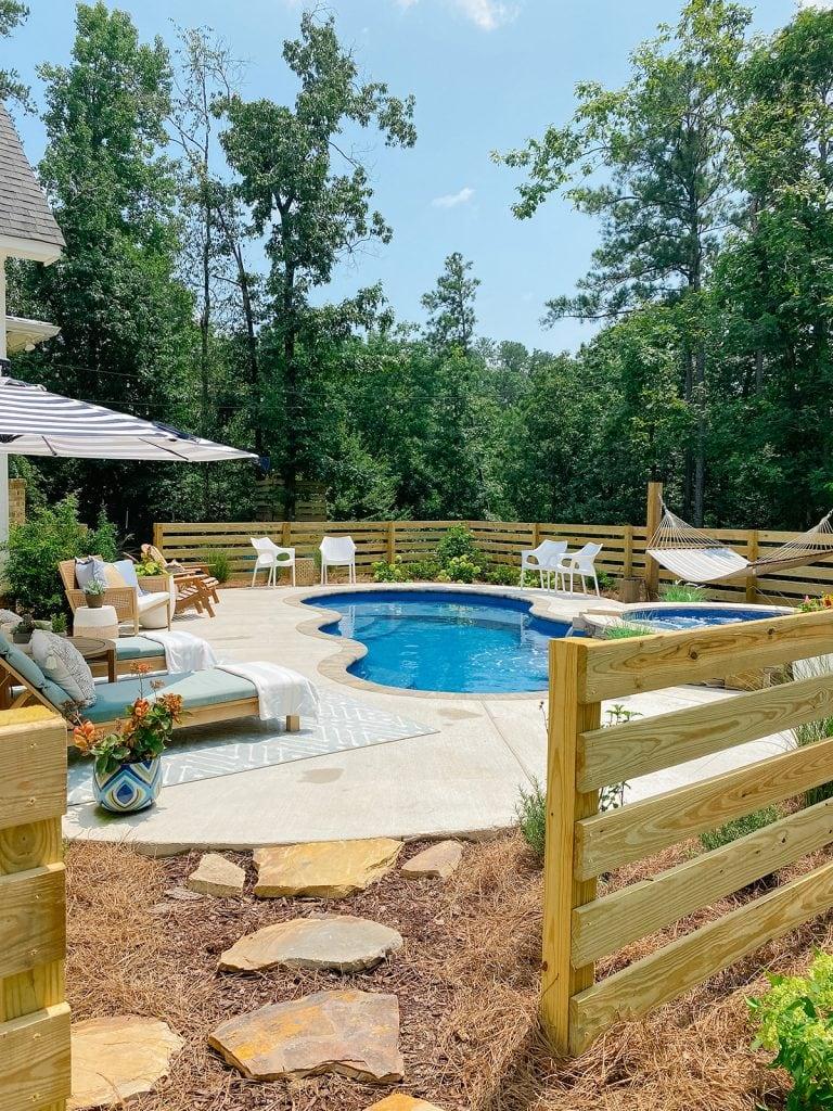 pool area in backyard